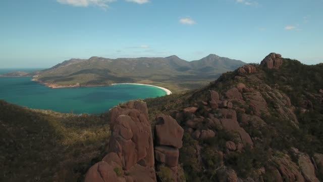 Wide angle drone aerial shot of remote landscape in Tasmania