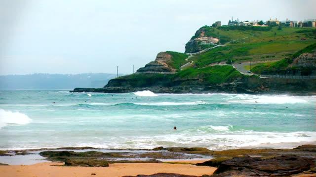 Wide angle of Australia's Newcastle coastline video