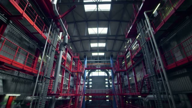 Wide angle shot in a factory - industrial production video