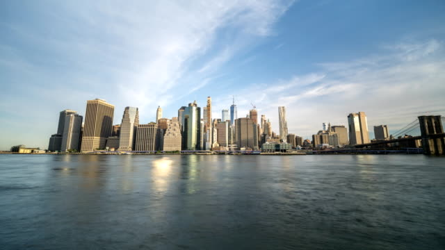 Wide Angle Time Lapse of Manhattan From the New Jersey Side in the Morning