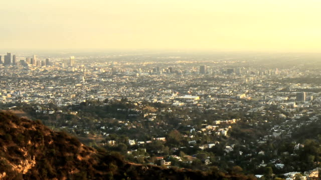 Wide angle timelapse of Los Angeles skyline and Hollywood as the sun goes down video