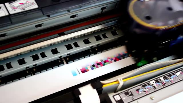 Wide format digital printer, plotter in Action. video