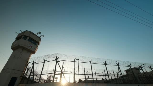 Wide prison at dusk