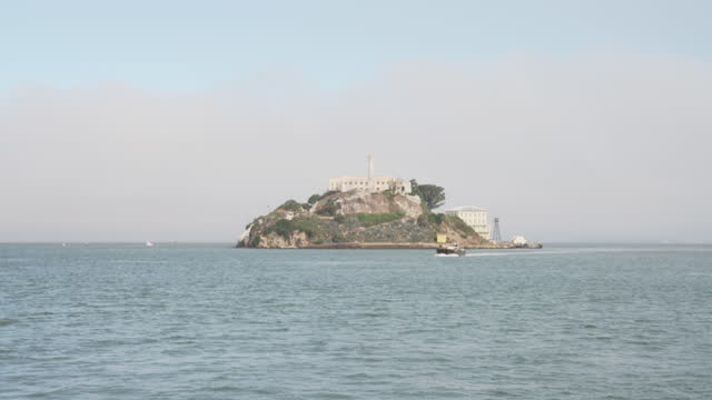 Wide shot: Alcatraz island in the San Francisco Bay