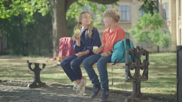 Wide shot of charming boy and girl sitting on bench at schoolyard. Cute Caucasian schoolboy giving healthful green apple to schoolgirl. Concept of first love and children flirt. Wide shot of charming boy and girl sitting on bench at schoolyard. Cute Caucasian schoolboy giving healthful green apple to schoolgirl. Concept of first love and children flirt. charming stock videos & royalty-free footage