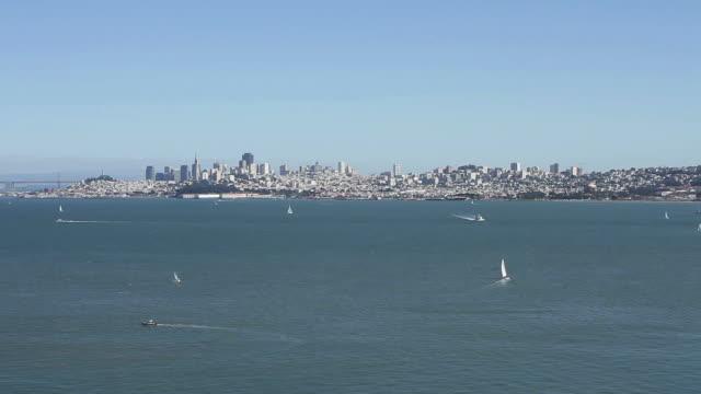 Wide shot of ocean by Golden Gate in San Francisco video