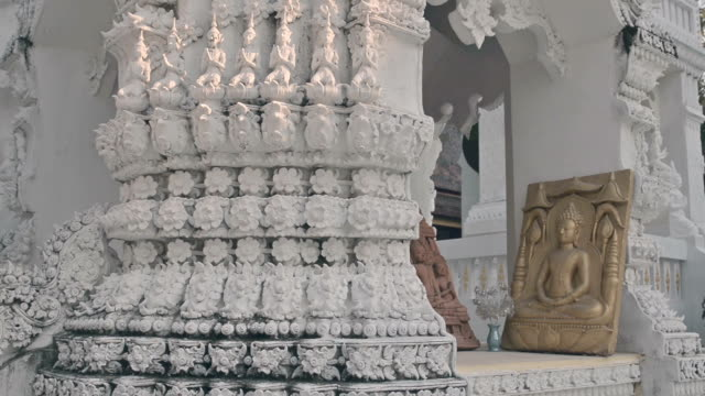 Wide Shot of sculptures at thai temple video