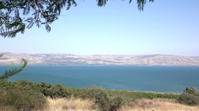 Wide Shot of Sea of Galilee and Golan Heights in Distance video