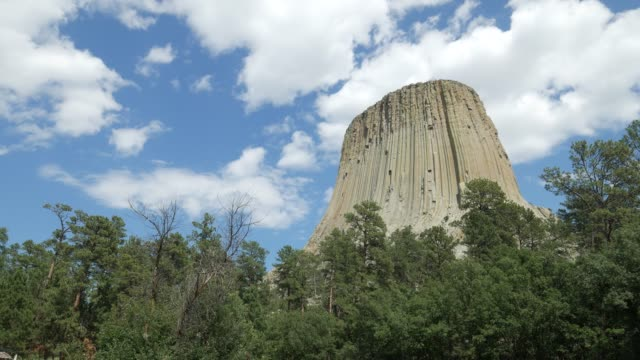 Wide shot of the Devils Tower also known as Bear Lodge Butte at the Crook County in Wyoming.