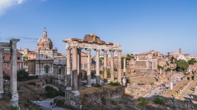 T/L Wide shot of the Forum in Rome in the afternoon, Italy. video