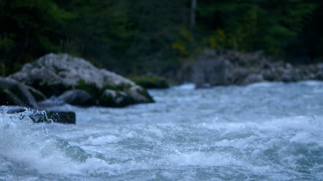 wide shot: wild river in the mountains - slow motion video
