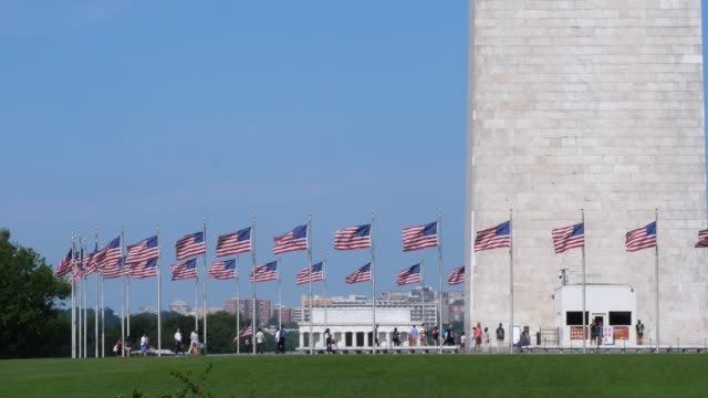 Wide Slow Motion Long Shot of Washington Monument and Lincoln Memorial video