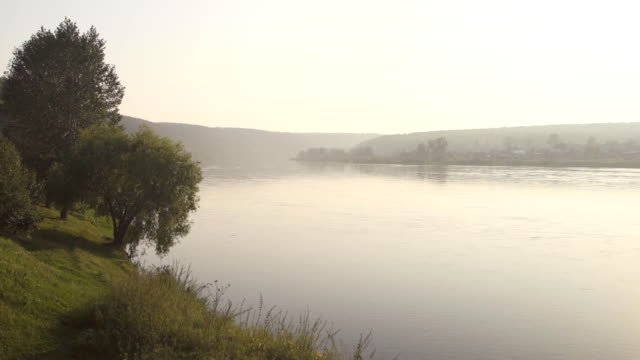 Wide smooth deep river flows slowly in large valley in morning mist video