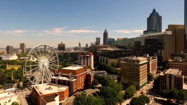 Wide Static Aerial Footage Downtown City Skyline Atlanta video