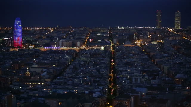 Wide view of Barcelona at dusk.Time Lapse video