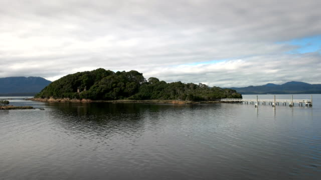 wide view of the infamous sarah island in macquarie harbour