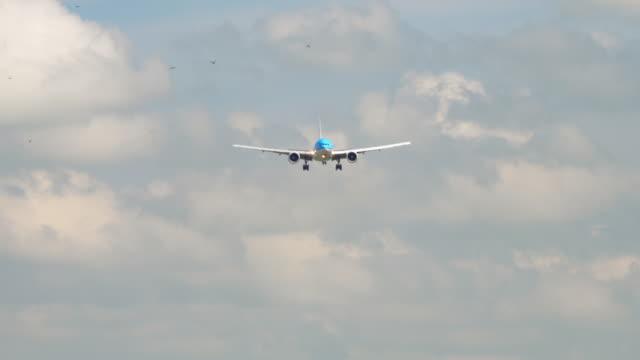 stockvideo's en b-roll-footage met widebody lijnvliegtuig nadert - schiphol