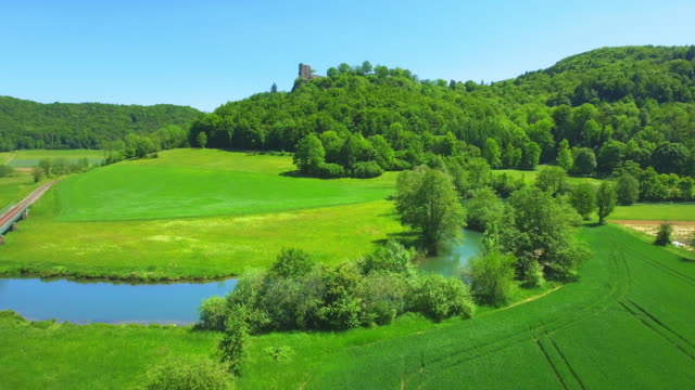 Wiesent River Valley And Neideck Castle In Franconian Switzerland In North Bavaria video