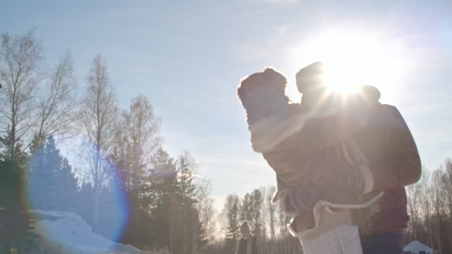 Wife and Husband Embracing in Winter Park video