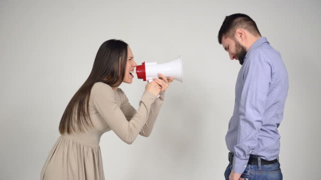 Wife using a megaphone to scream at husband video