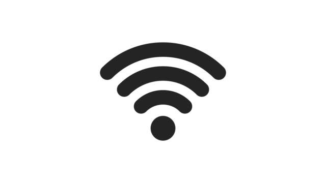 白色背景上的 wifi 圖示 2d 動畫。圖示設計。4k 解析度 - 無線技術 個影片檔及 b 捲影像