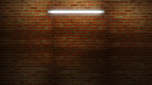 Wiggle neon tube light on night brick wall the neon light switch on off looping and seamless can be use for background.