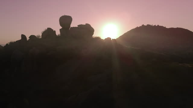 Wild Arizona desert rock formation sunset scene.  Great opening or closing sequence for video.