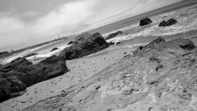 Wild Coast of Pacific Ocean. Black and White. California, USA