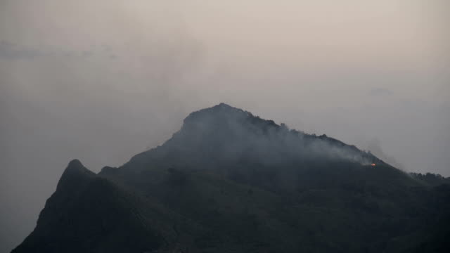 Wild fire high on the mountain. video