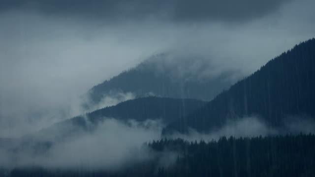 wild misty mountains im regen - vancouver kanada stock-videos und b-roll-filmmaterial