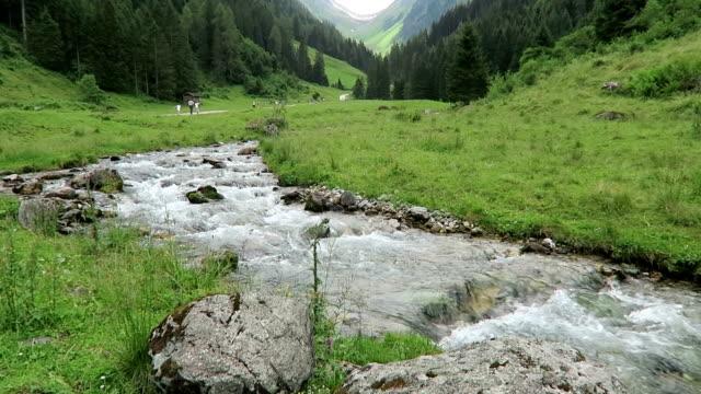 vilda ström flyter genom schwarzachtal dalen i tirol /austria. - delstaten tyrolen bildbanksvideor och videomaterial från bakom kulisserna