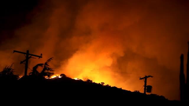 wildfire burning in hills (hd) - skog brand bildbanksvideor och videomaterial från bakom kulisserna