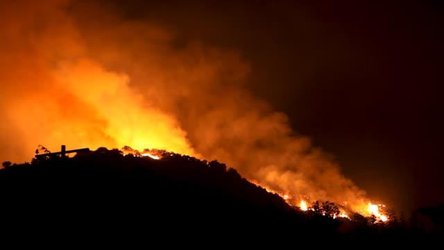 wildfire raging in hills (hd) - skog brand bildbanksvideor och videomaterial från bakom kulisserna
