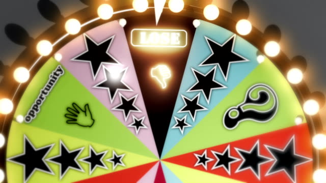 Win, Lose and Fresh Start Spinning Wheel Slots Three clips of a generic game show spinning wheel as it lands on the Lose, Win and Fresh Start slots. chance stock videos & royalty-free footage