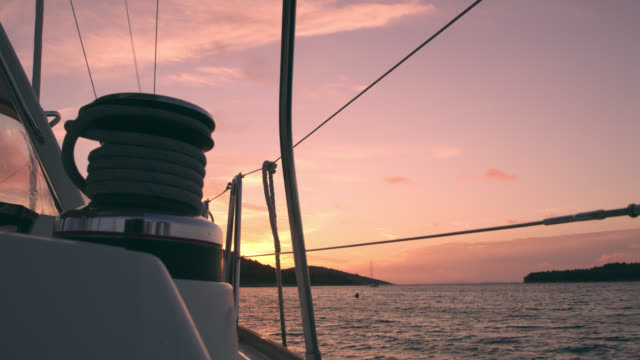 WS Winch on a deck of a sailboat at sunset video