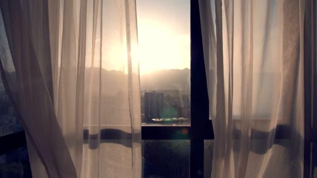vídeos y material grabado en eventos de stock de cortina de viento soplado - cortina