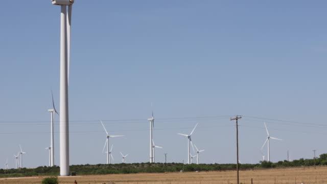 Wind Farm Turbines Turn Over Field in Rural West Texas