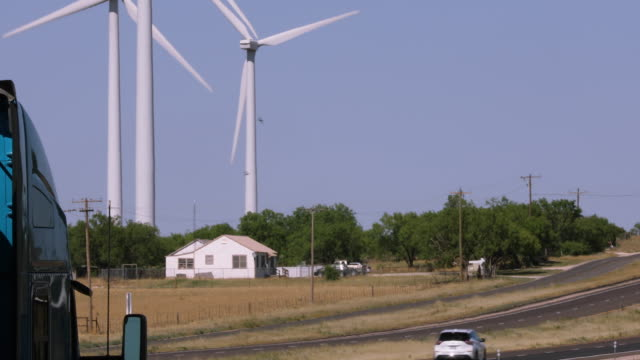 Wind Farm Turbines Turn Over House and Highway in RuralTexas