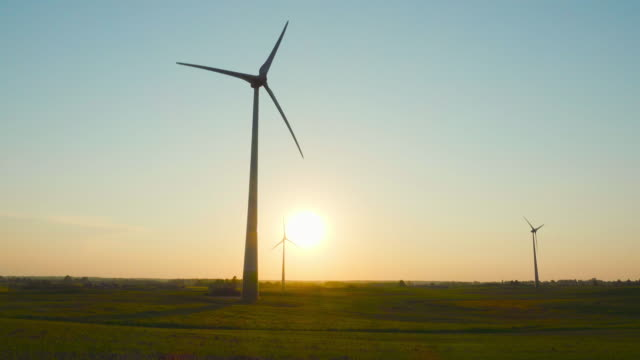 Wind generators at sunset video
