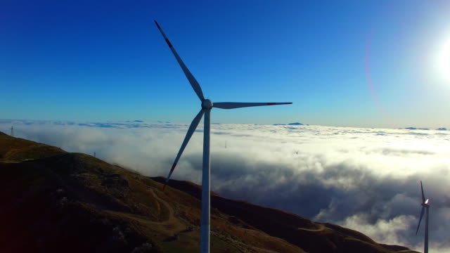 Wind Power in the sea of clouds video