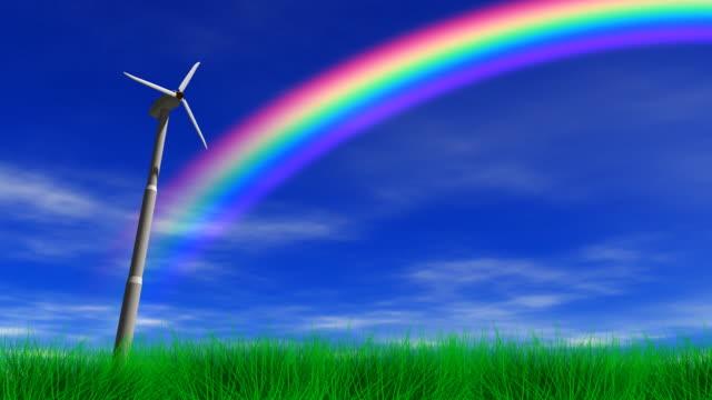 Wind Power Turbine & Rainbow video