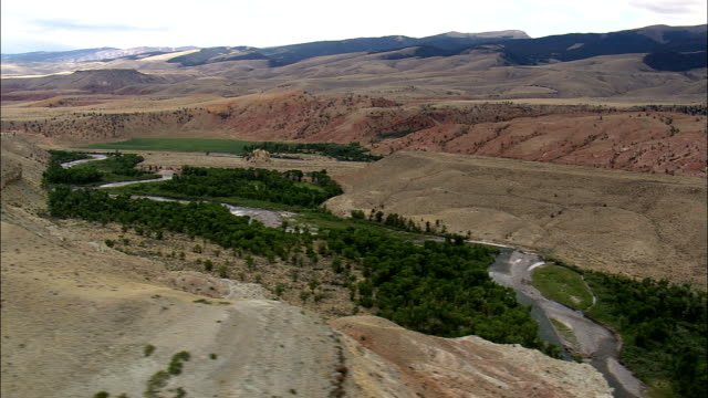 Wind River South Of Dubois  - Aerial View - Wyoming,  Fremont County,  helicopter filming,  aerial video,  cineflex,  establishing shot,  United States video
