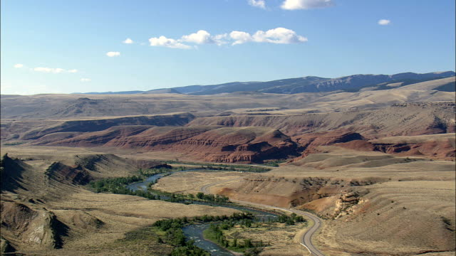 Wind River With Mountains In Background  - Aerial View - Wyoming,  Fremont County,  helicopter filming,  aerial video,  cineflex,  establishing shot,  United States video