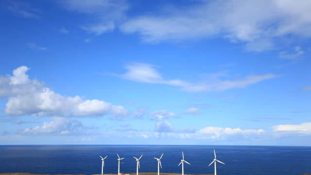 Wind Turbine and Ocean, Green Energy, HD Video video