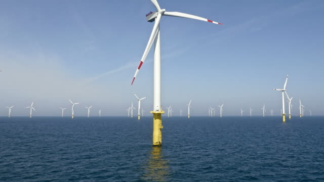 AERIAL Wind turbine at an offshore wind farm