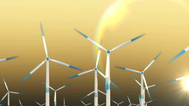 Wind turbine at sunset, clean energy. Green energy. 3d rendering video