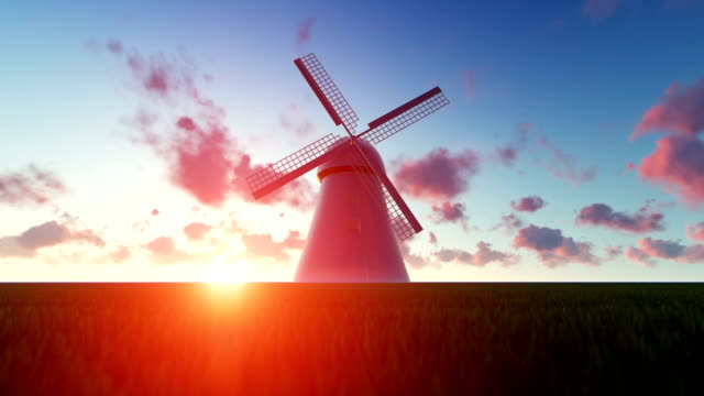 Wind Turbine at Sunset video