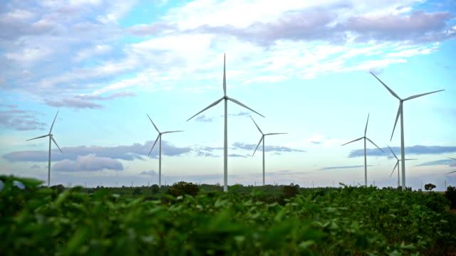 Wind turbine farm. Sustainable development, environment friendly concept. video