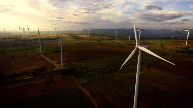 Wind turbine from aerial view video