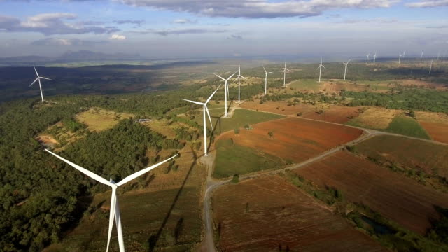 Wind turbine from aerial view Wind turbine from aerial view. Sustainable development, environment friendly concept. Wind turbine give renewable energy, sustainable energy, alternative energy. Wind sustainability energy. windmill stock videos & royalty-free footage